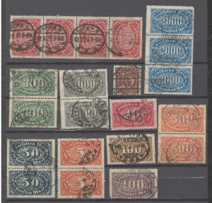 COLLECTION LOT # 2497 GERMANY 21 STAMPS IN PAIRS & STRIPS 1921+ CV+$30