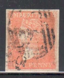 Mauritus #16 XF imperf single used C$1200.00