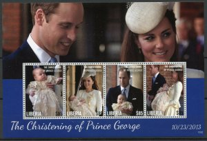 Liberia Royalty Stamps 2013 MNH Christening Prince George William & Kate 4v M/S