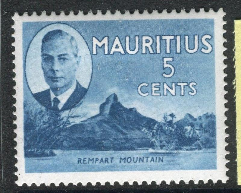 MAURITIUS;  1950 early GVI issue fine Mint hinged 5c. value