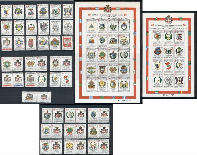 Coats of Arms Sovereign Order of Malta 50 MNH stamps 2 sheets set