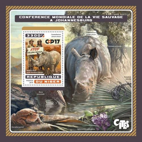 NIGER - 2016 - World Wildlife Conference - Perf Souv Sheet - MNH