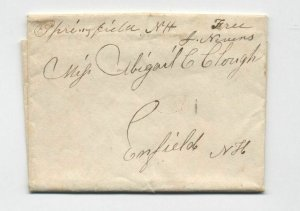 1836 Springfield NH manuscript stampless postmaster free frank [5249.164]