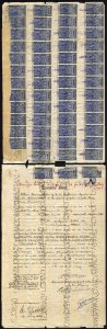 India KGVI Share Transfer revenues 10R x 51 (paper stuck over top row)