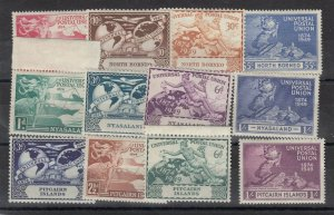 North Borneo Nyasaland Pitcairn 1949 UPU Sets x 3 MNH JK430