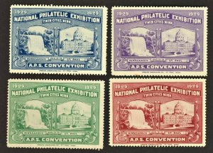 1929 Minnesota Twin Cities National Philatelic Exhibition Poster Stamp ( 4 ) MH