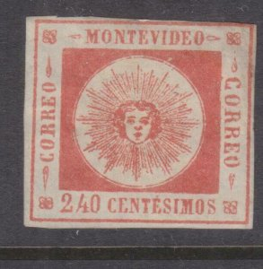 URUGUAY, 1859 Montevideo, 240c. Red., lhm., slight paper on reverse.