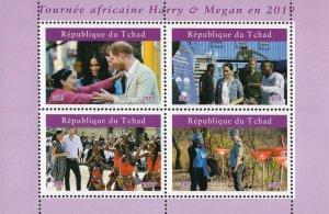 Chad 2019 Prince Harry and Megan 4v Mint Souvenir Sheet S/S. (#119)