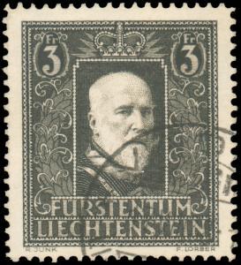 Liechtenstein 1938 3fr BLACK ON BUFF USED #152 CV$100.00 [88549]