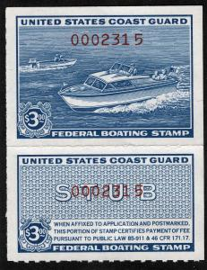 US Sc RVB2 Blue 1960 $3.00 USCG Boating NH Original Gum
