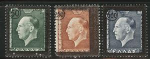 GREECE Scott 498-500 MH* Mint No Gum 1947 stamp set