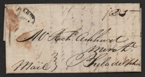 $Nashville Tenn stampless cover Aug. 3, 1819 oval cancel 3 page letter