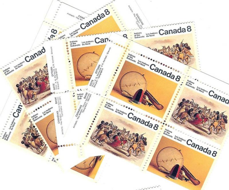 Canada, 574-75a,Subarctic Indians,Matched Plate Blks (4),MNH