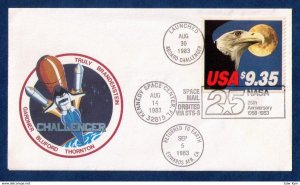 US Sc 1909 Postal History Cover $9.35 FDC 1983 Space Shuttle Challenger VF/XF