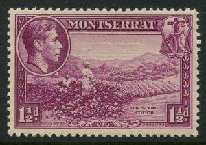 MONTSERRAT Sc#94a SG#103 1938 1½p Perf 13 Mint OG Hinged