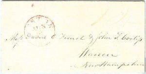 72317 -  UNITED STATES USA - PREPHILATELIC Cover:  BOSTON, MA  1838 - RED mark