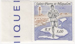 St. Pierre and Miquelon, Sc 549 (2), MNH, 1990, Runner and Map
