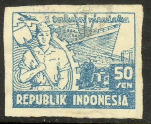 INDONESIA JAVA REVOLUTIONARY ISSUES 1948 50s WORKER & SHIP Sc 1L44 VFU