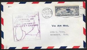 UNITED STATES #C10 on First Flight Cover 1928 La Porte to Kalamazoo