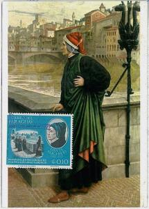 MAXIMUM CARD - PARAGUAY : Dante Alighieri LITTERATUTE - 1966 #2