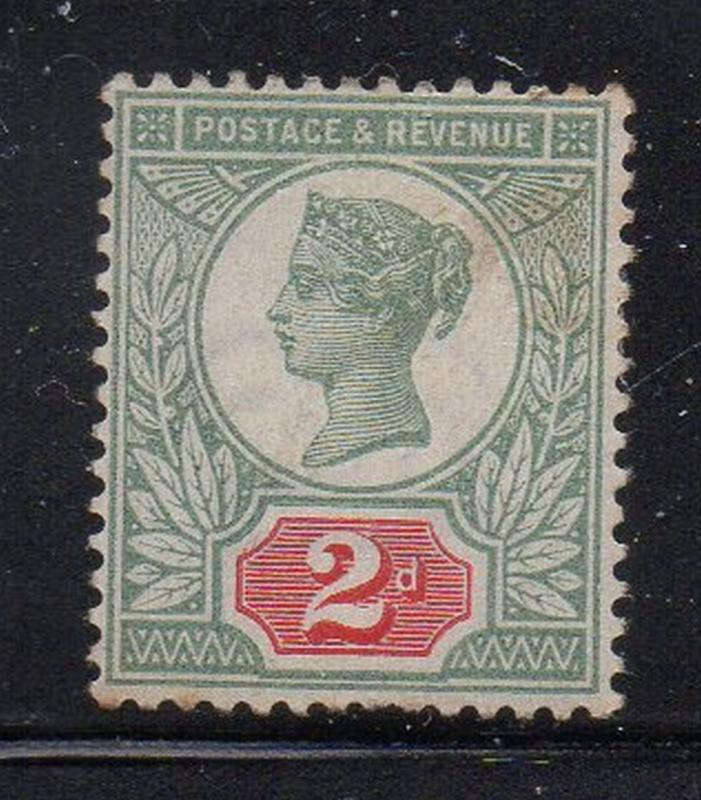 Great Britain Sc 113 1897 2d green & carmine rose Victoria stamp mint