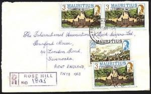 MAURITIUS 1985 Registered cover to UK ex ROSE HILL.........................93710