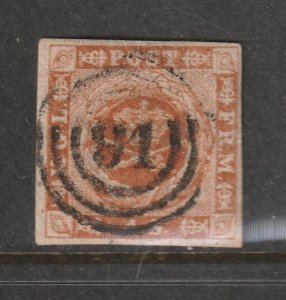 Denmark a used imperf 4sk from 1854