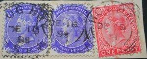 South Australia 1899 2d pair with HOG BAY (Sq Circle) postmark