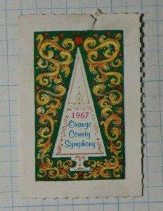 Orange County Symphony 1967 Christmas Tree Compnay Brand Ad Poster Stamp