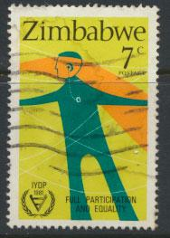 Zimbabwe SG 603 Deaf Person Disabled  Used  see scan