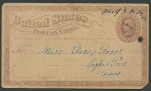 TEXAS FAYETTE COUNTY (1873 Bluff)  DPO 1869-1904 (Manuscript + Damaged)