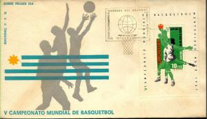URY-170 URUGUAY 1967 BASKETBALL WORLD CHAMPIONSHIP SOUV/SHEET  FDC