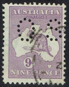 AUSTRALIA 1915 KANGAROO OS 9D 2ND WMK USED