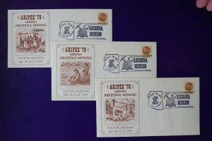 ARIPEX 1978 Philatelic show expo souvenir cachet cover set Mining industry 1734