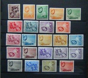 Seychelles 1938 - 49 values to $5 MM 2c Gum faults 1r Toned 1r50 rust