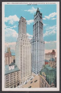 Unused Postcard: New York City – Transportation and Woolworth Building