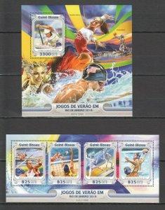 ST885 2016 GUINEA-BISSAU SPORT OLYMPIC GAMES RIO DE JANEIRO 1KB+1BL MNH STAMPS
