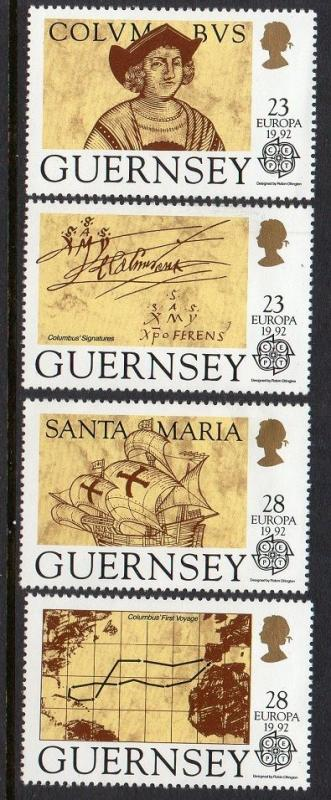 Guernsey 1992 Europa Columbus Ship Map VF MNH (467-70)