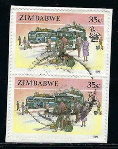 ZIMBABWE 627 PAIR ON PIECE VFU Y210