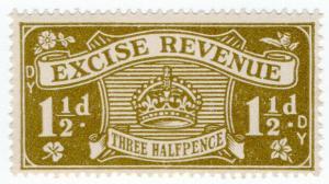 (I.B) Excise Revenue : 1½d Bistre (1934)