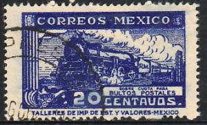 MEXICO Q4, 20cents PARCEL POST, STEAM ENGINE. USED. F-VF (1469)