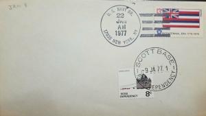 L) 1977 ROSS DEPENDENCY, ANTARCTIC, SUMMER SUPPORT, 8C, BOAT, FLAG, BICENTENNIAL