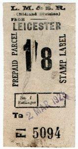 (I.B) London Midland & Scottish Railway (Midland Div) : Parcel 1/8d (Leicester)