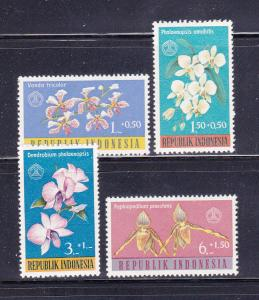 Indonesia B146-B149 Set MHR Flowers, Orchids (A)
