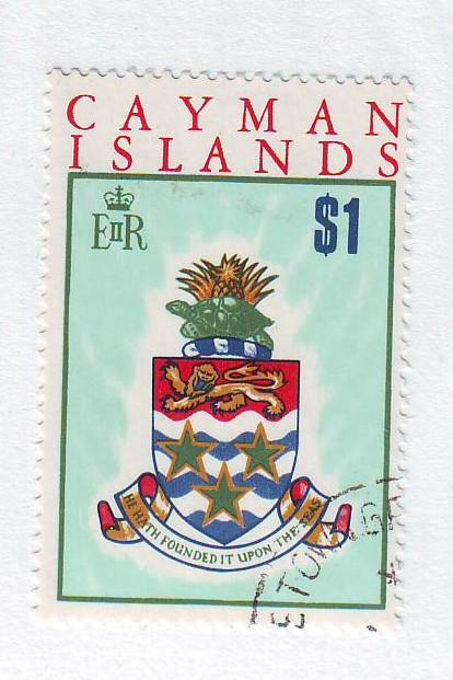 Cayman Islands Sc 275 1970 $1 Coat of Arms stamp used