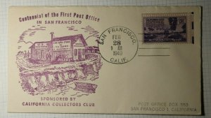 Centennial 1st Post Office San Francisco CA Philatelic Cachet Cover 1949