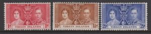 Virgin Islands 1937 KGVI Coronation Set Sc#73-75 MHH