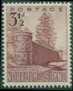 Norfolk Island 1953 SG13 3½d red Warder's Tower MNH