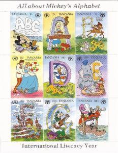 Tanzania - 1990 Mickey's Alphabet - 9 Stamp Sheet - 20E-075