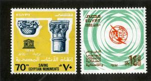 EGYPT 1142-1143 MNH SCV $2.40 BIN $1.25 SAVING EGYPTIAN MONUMENTS